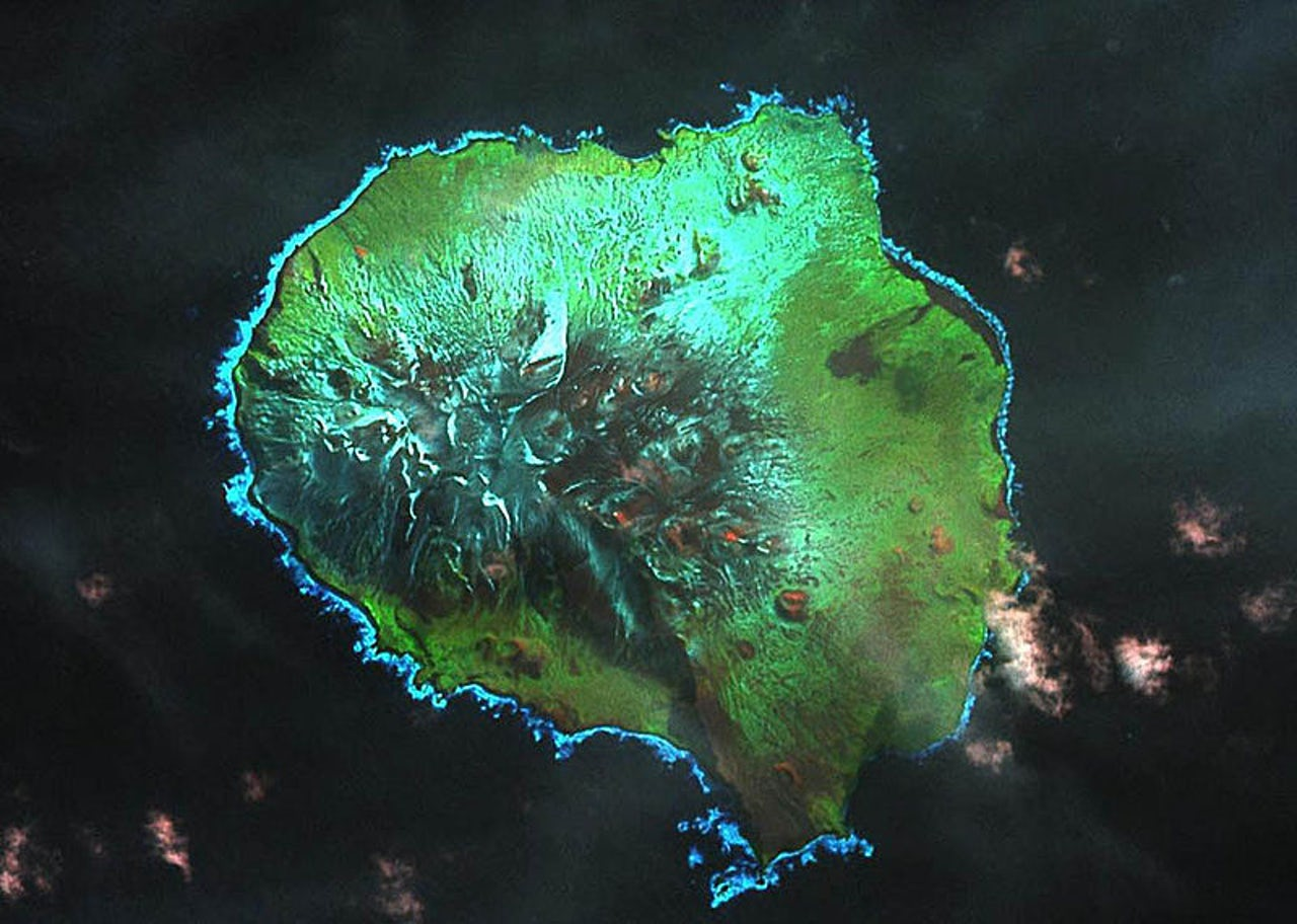 A satellite image of Ile aux Cochons, a remote island in the Indian Ocean that's south of Madagascar and north of Antarctica.