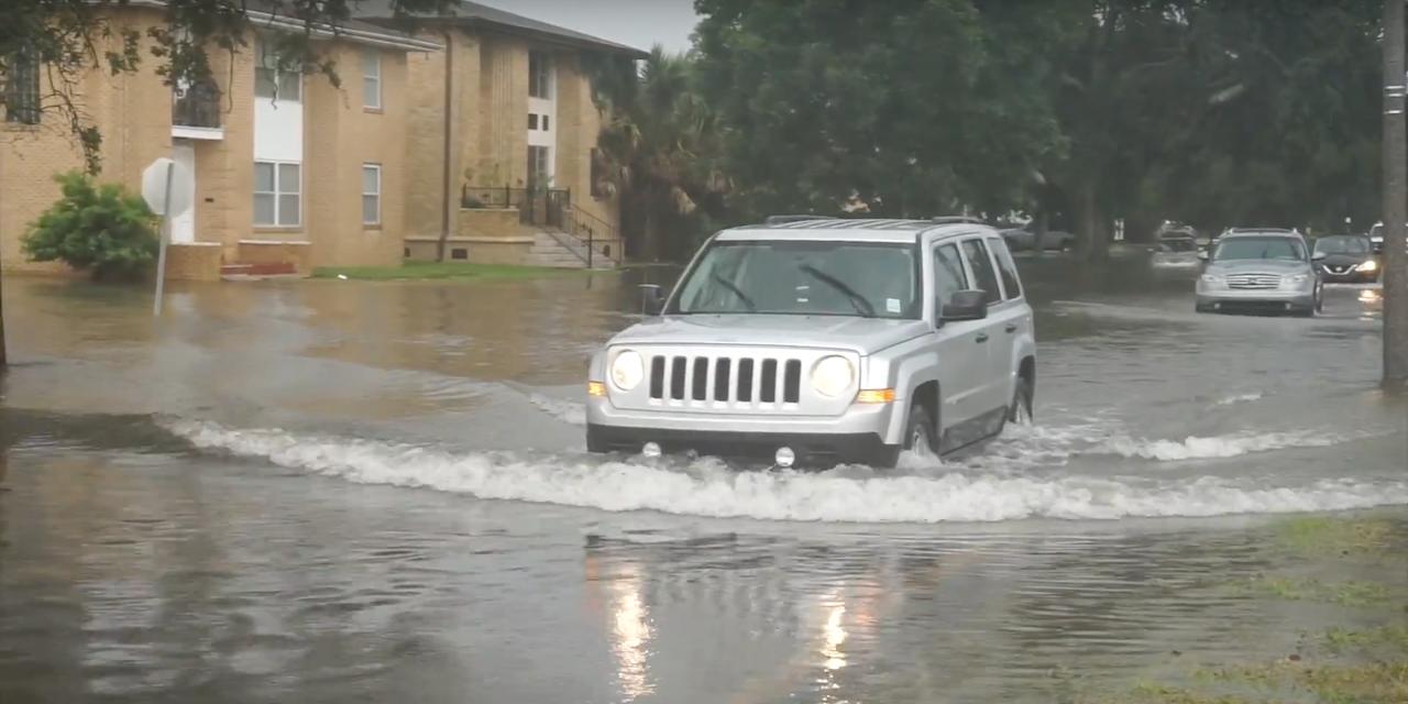 Flooding around Gentilly Street, New Orleans in August 2017.
