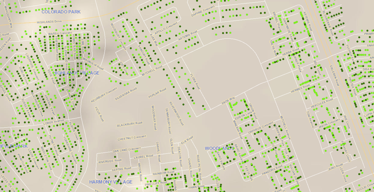 A screenshot of the City Water Map tool available on the city of Cape Town's website.