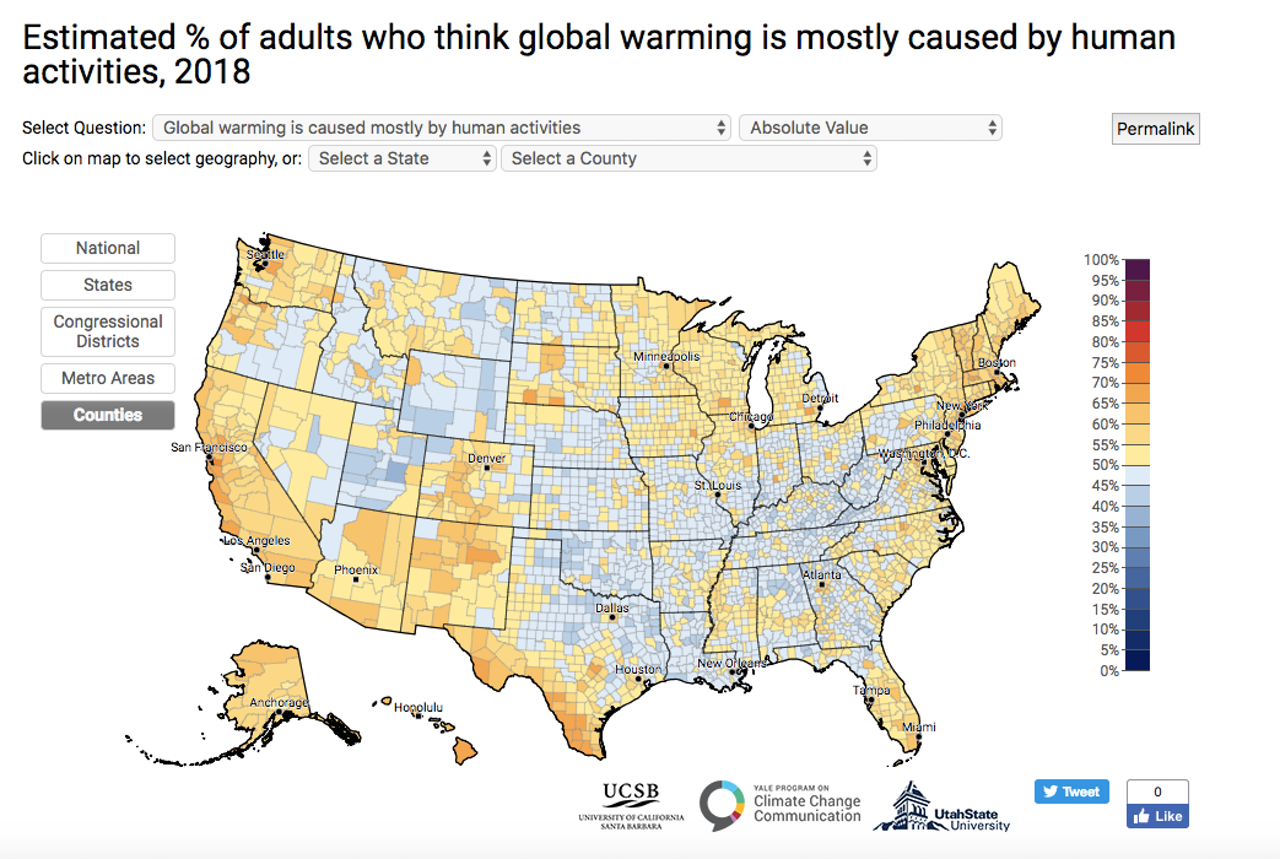Just 57 percent of Americans believe that climate change is caused by human activities.
