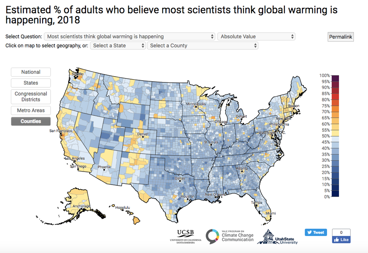 Just 49 percent of all Americans know that there is an overwhelming scientific consensus that global warming is happening.