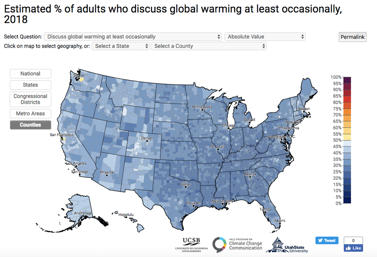Only 36 percent of Americans discuss climate change occasionally.