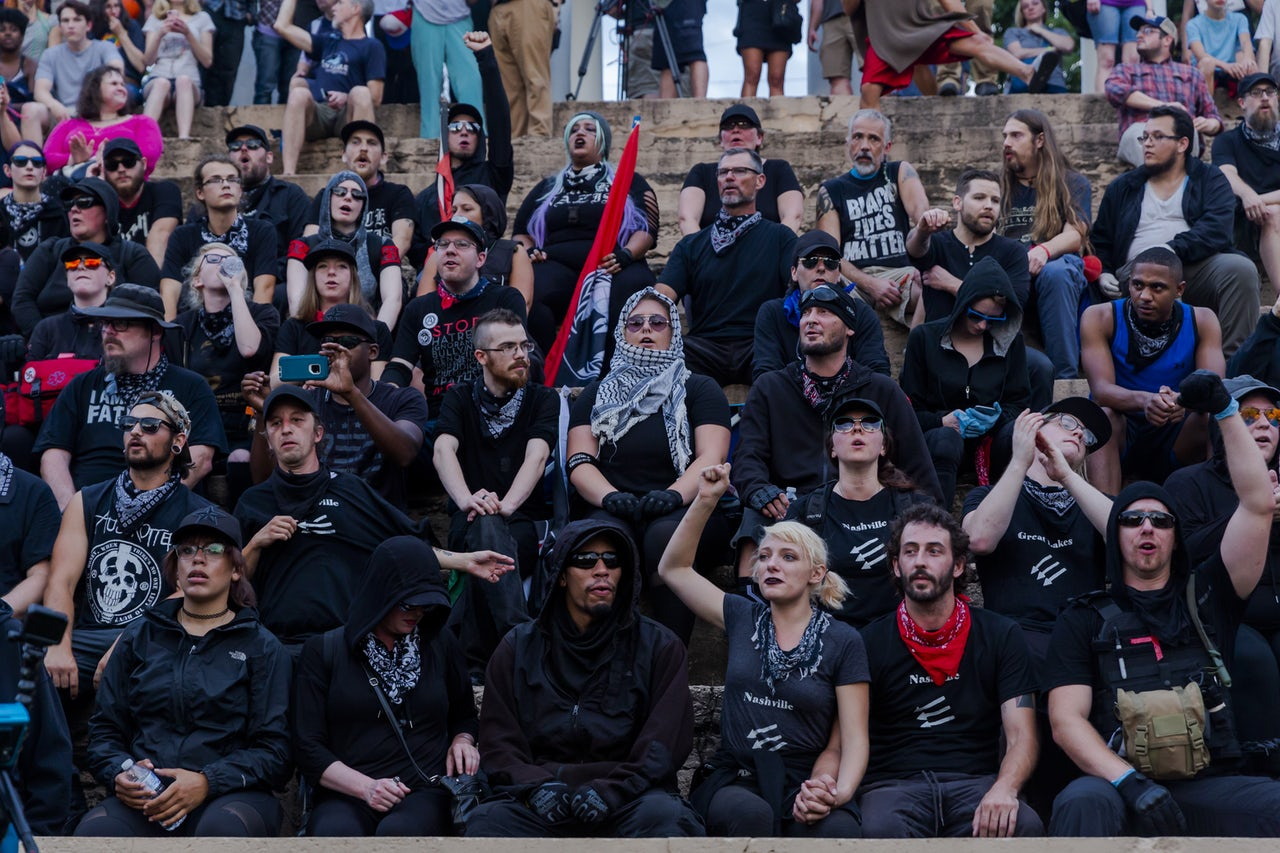 Carico and other Antifa protesters gathered in Charlottesville, Virginia on the anniversary of the Unite the Right rally.