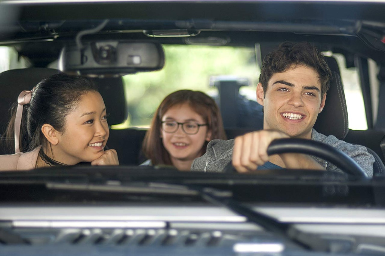 Lara Jean Covey with her sister and her crush, the super dreamy Peter Kavinsky.