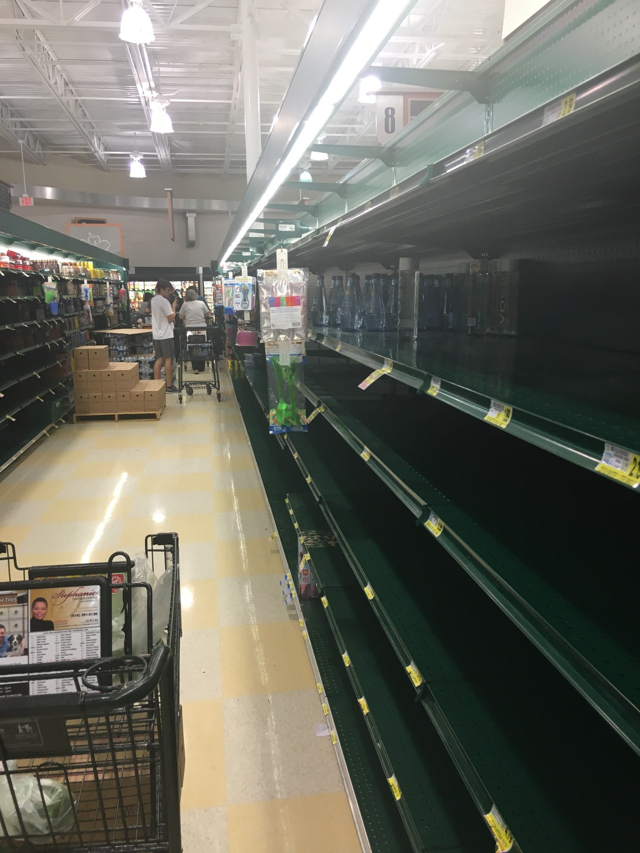 The water aisle in a Durham, North Carolina Harris Teeter grocery store.