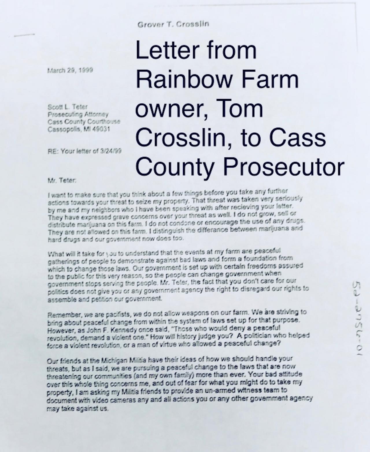 Letter from Tom (Grover) Crosslin to Scott Teter.