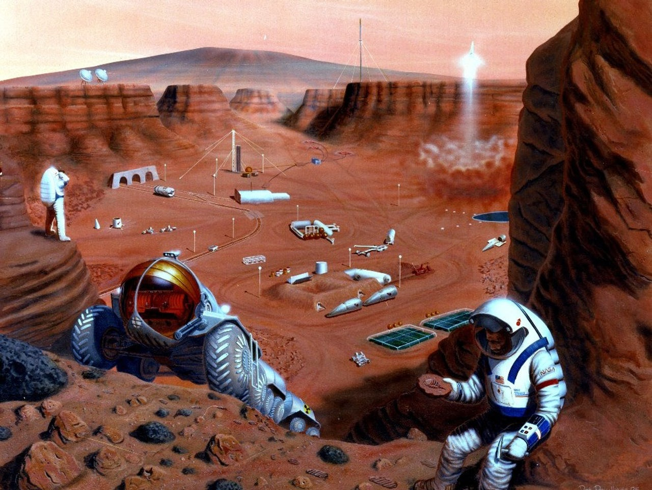 Conceptual art of a manned exploration of Mars.