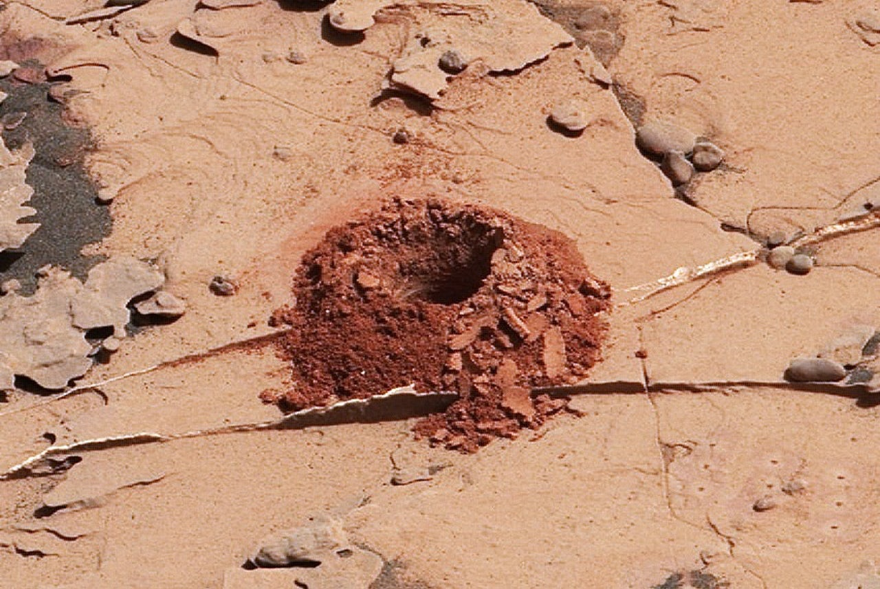 A hole on Mars dug by NASA's Curiosity Rover