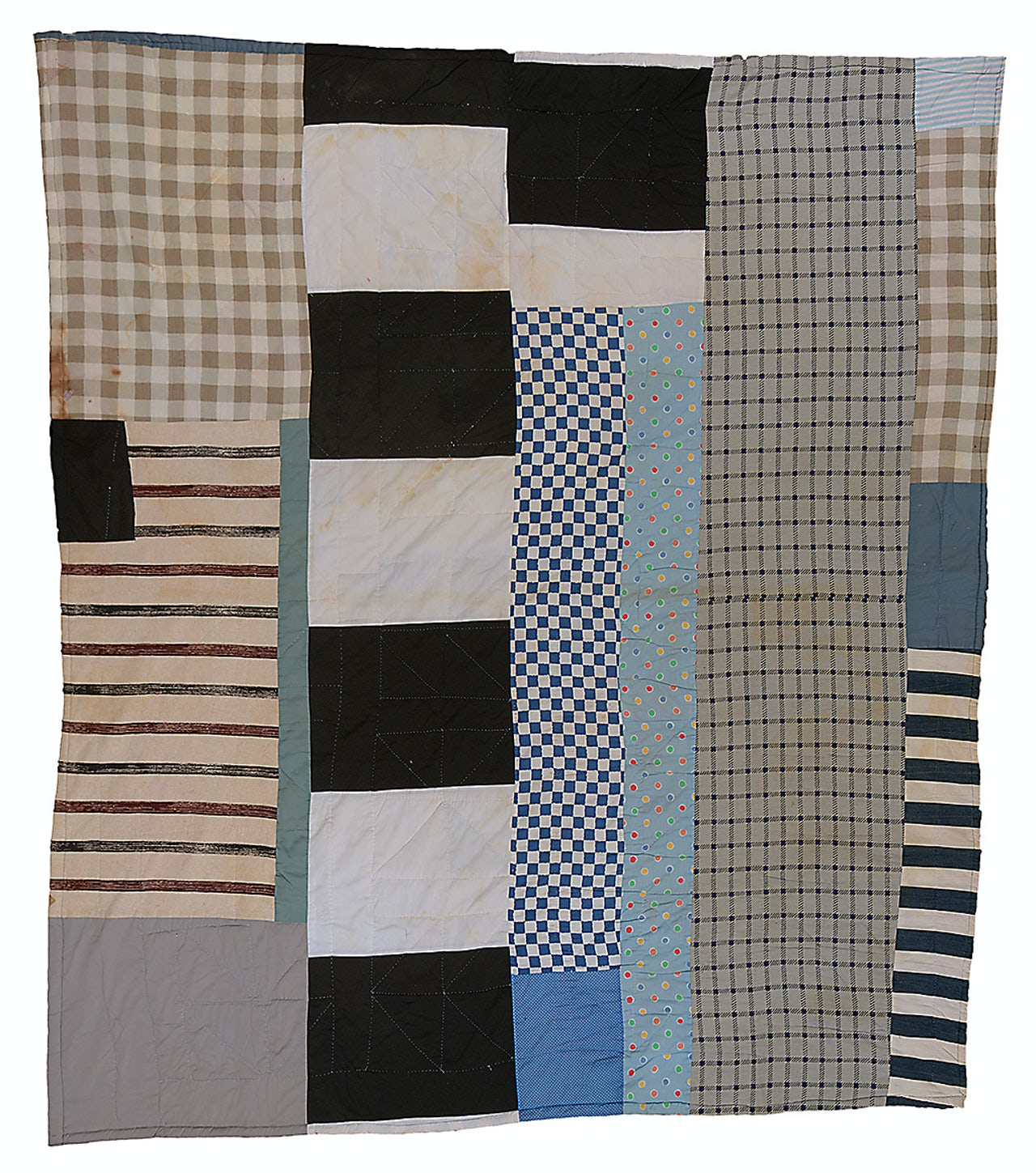"Pettway, Allie (1916-2010). Two-sided quilt ""Pinwheel"" variation, and blocks and strips. C. 1975, cotton and cotton/polyester blend, 88 x 80 in."