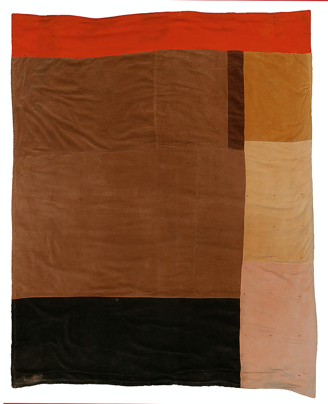 "Pettway, China (1952-) ""Blocks."" C. 1975, corduroy and cotton hopsacking, 83 x 70 in."
