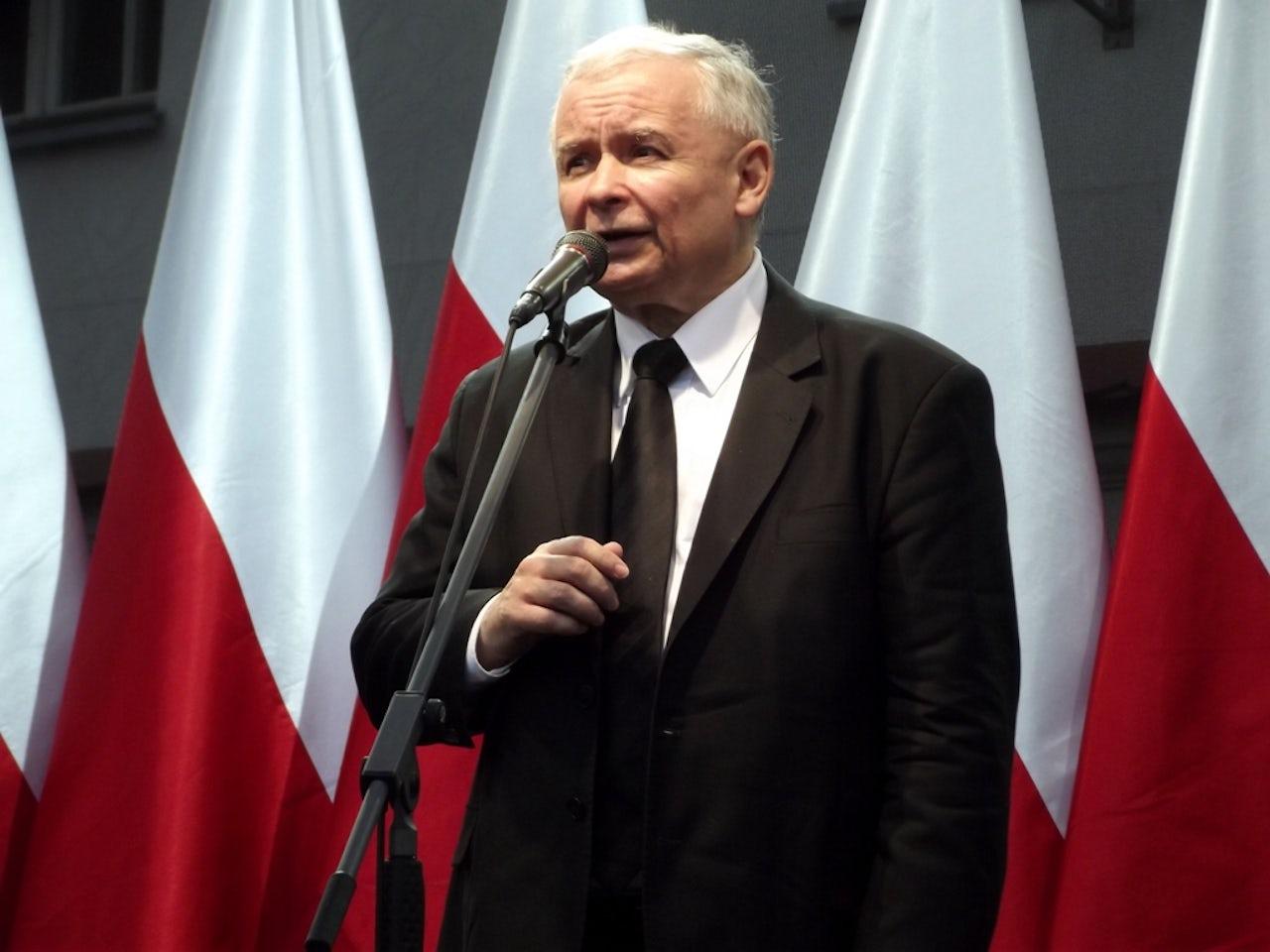 Jarosław Kaczyński speaking in 2013.