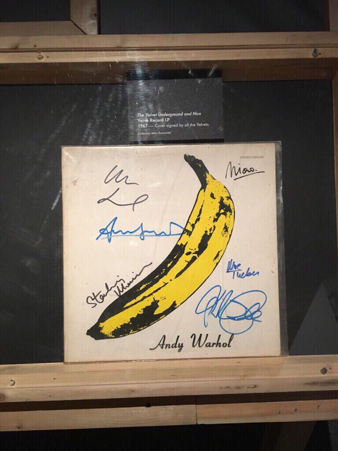The Velvet Underground's first record, signed by every member of the band.