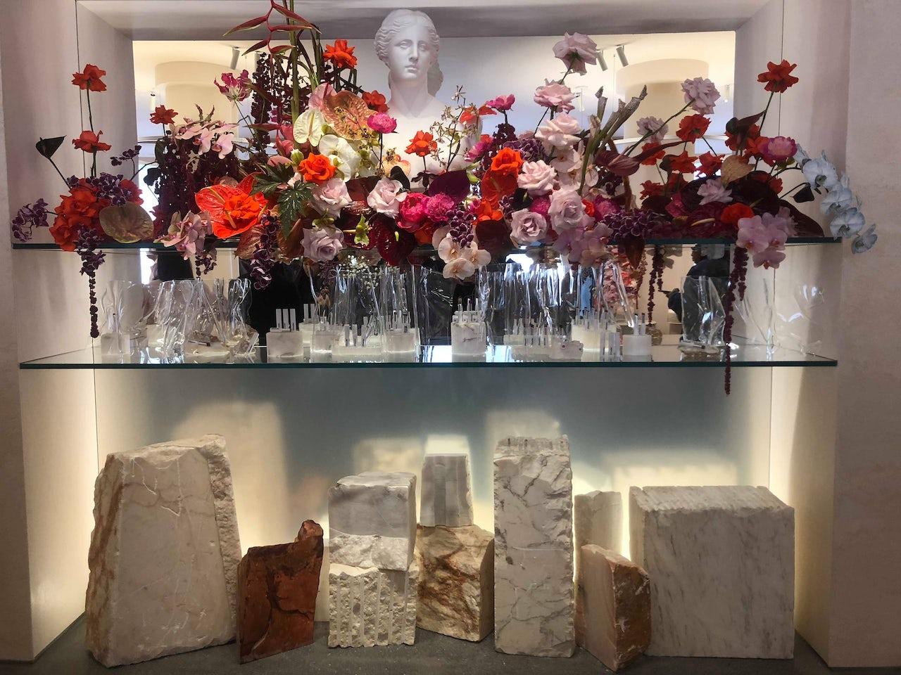 The main display of the Glossier showroom.