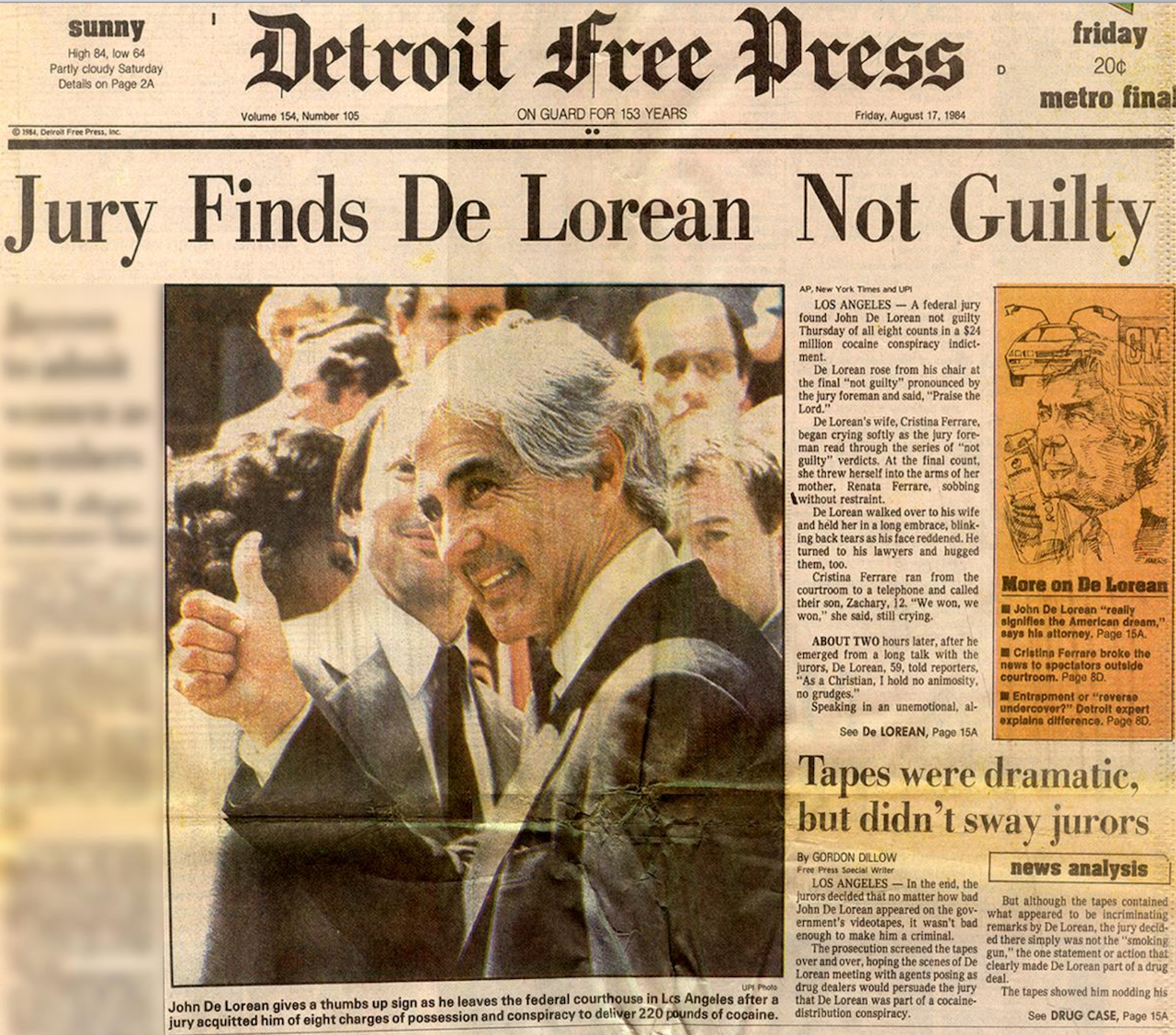 The cover of the Detroit Free Press, August 17th, 1984.