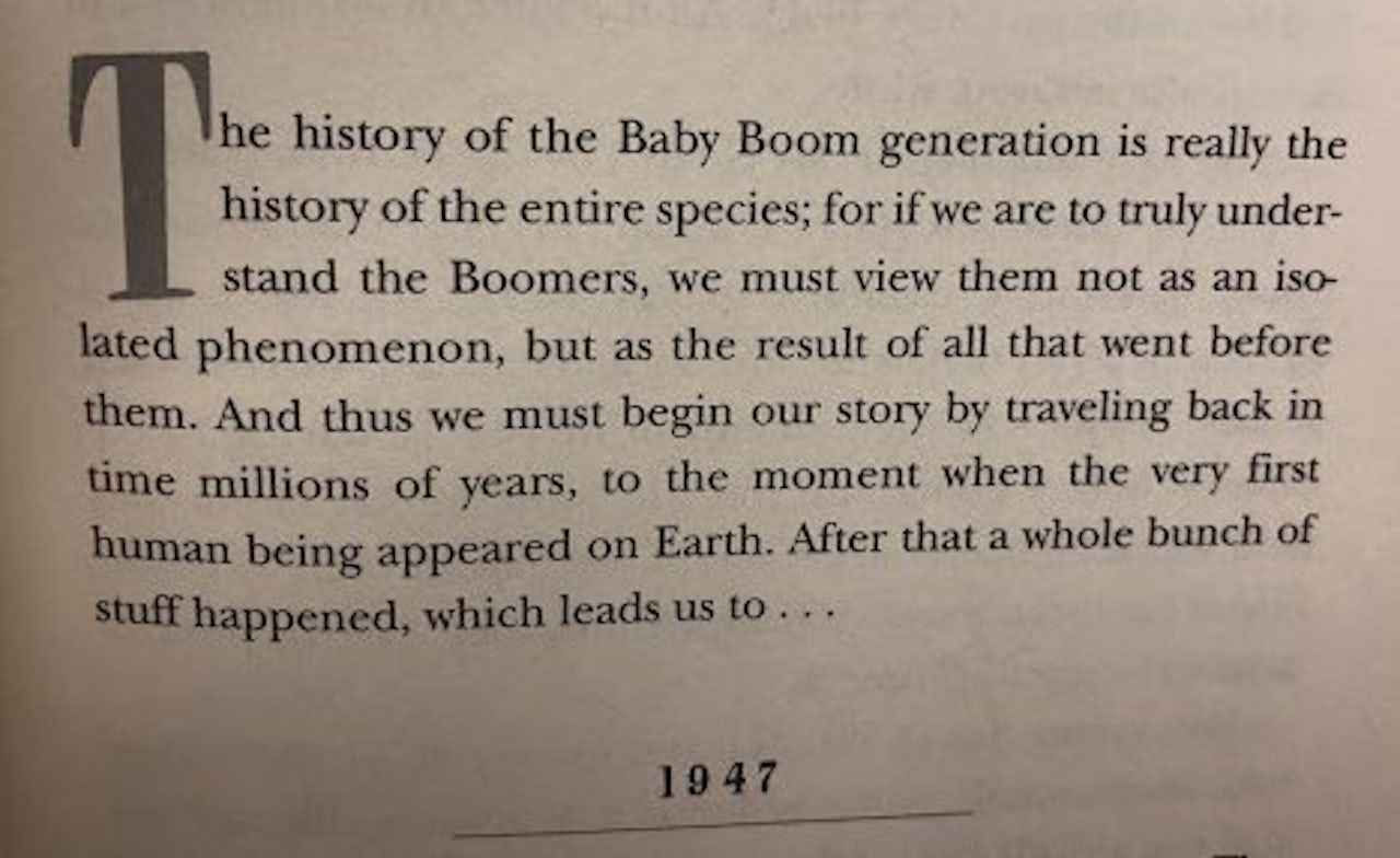 Dave Barry being a self-aware boomer in his book Dave Barry Turns 50 (1997)
