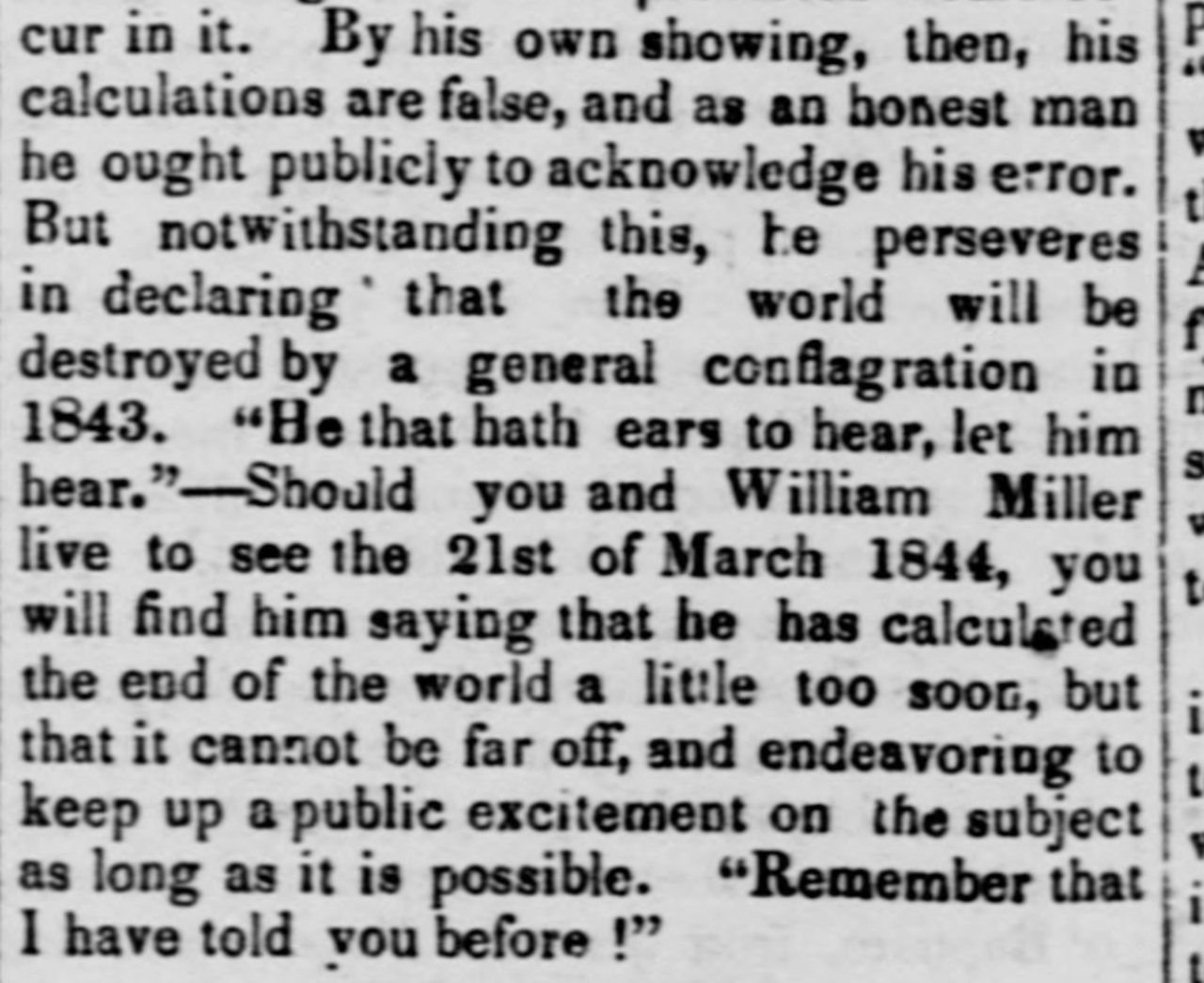 A sicko lib being Very Unfair to the Millerites in Middlebury, Vermont's premier lamestream Fake News outlet, 1843.