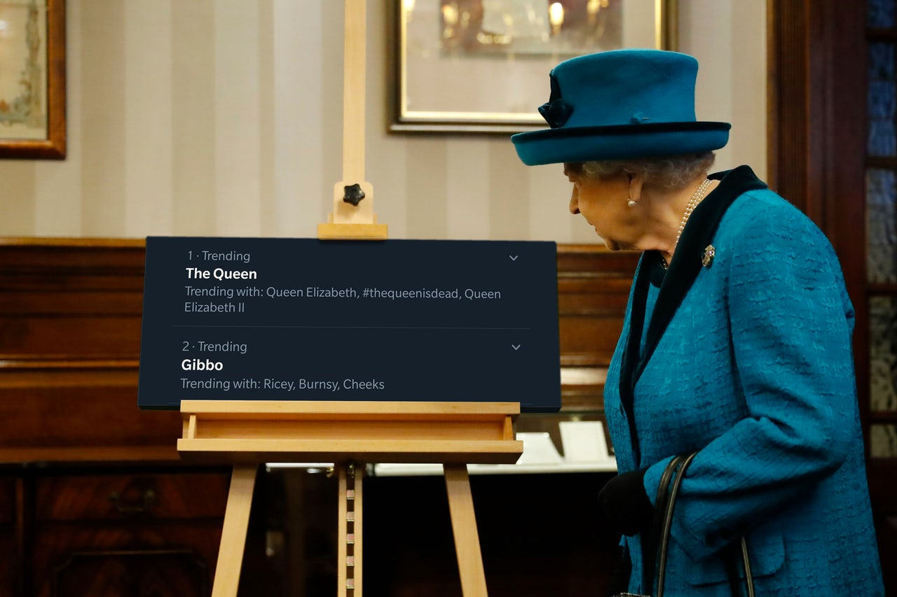 We should absolutely find out the Queen is dead from a guy named Gibbo