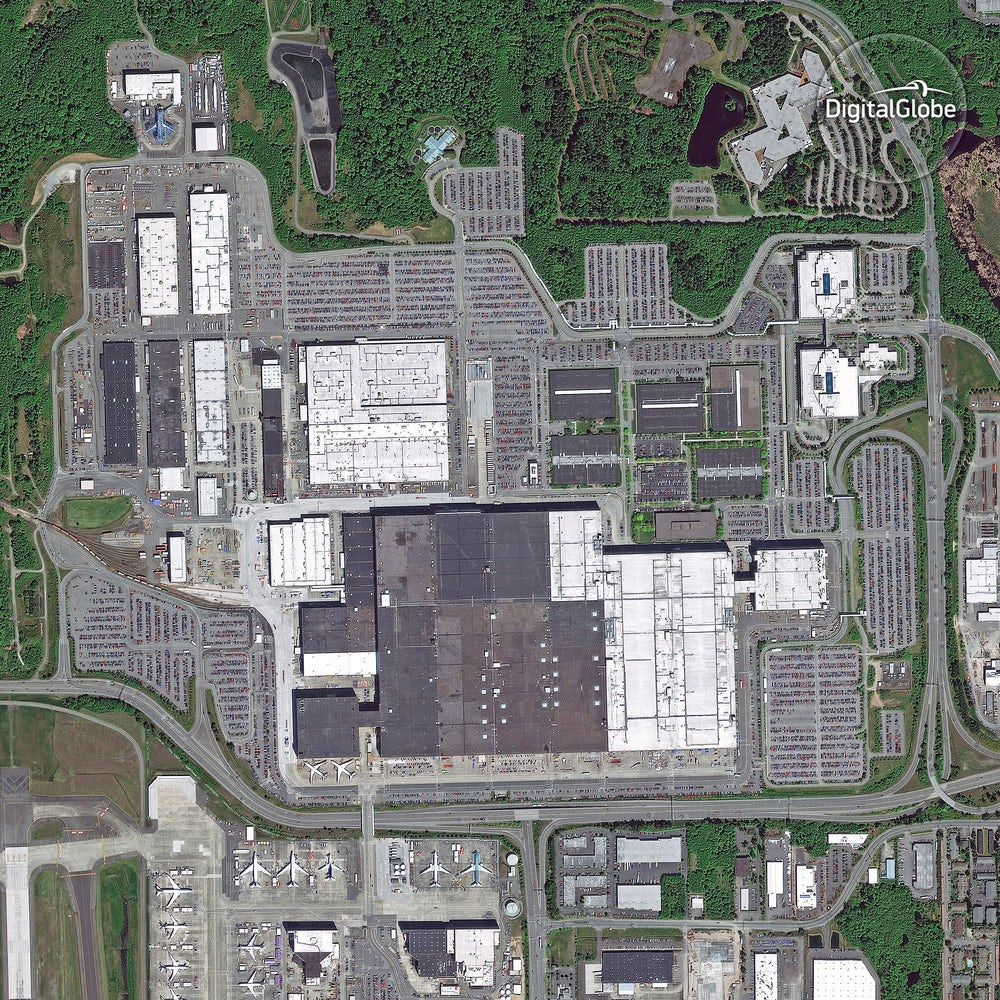 Boeing factory in Everett, Washington