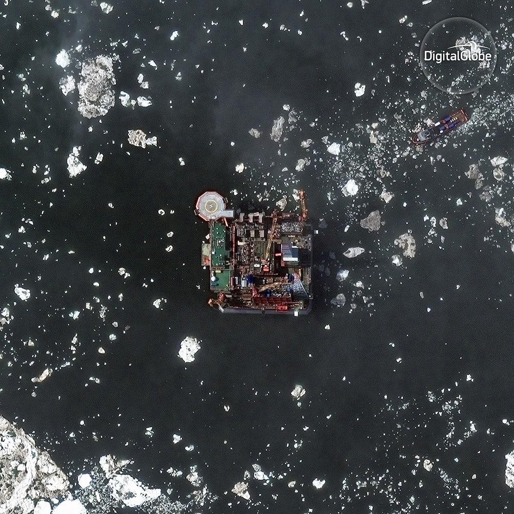 Oil platform in Prirazlomnaya, Russia.